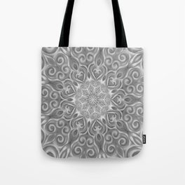 Gray Center Swirl Mandala Tote Bag