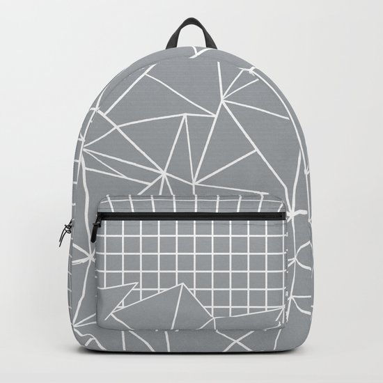 Abstract Outline Grid Grey Backpack