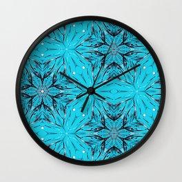 Black Snowflakes stars ornament on Blue Wall Clock