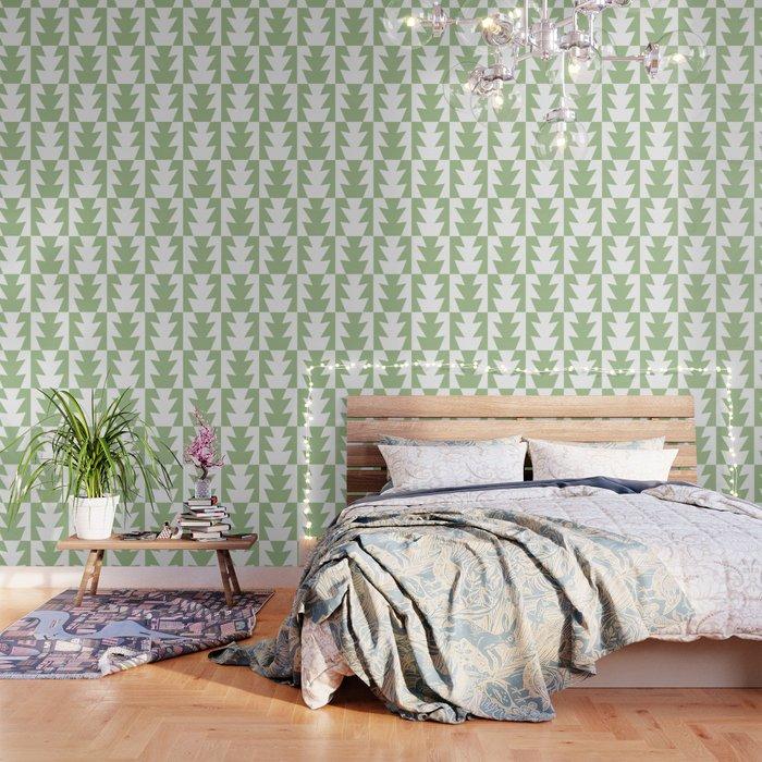 Art Deco Jagged Edge Pattern Sage Green Wallpaper