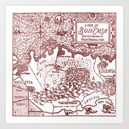 Map of Bohemia (red) Art Print