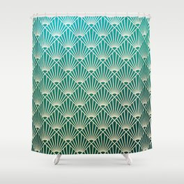 Teal golden Art Deco pattern Shower Curtain