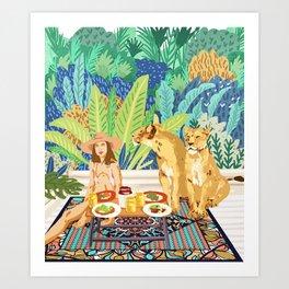 Jungle Breakfast #illustration #painting Art Print