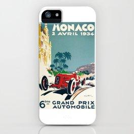 Grand Prix Monaco, 1934, vintage poster iPhone Case