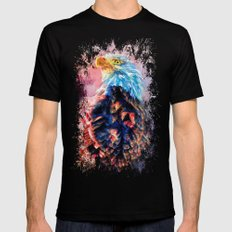 Jazzy Bald Eagle Colorful Bird Art by Jai Johnson Black Mens Fitted Tee 2X-LARGE