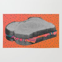 fat Area & Throw Rugs featuring Fat Sandwich by Cale potts Art