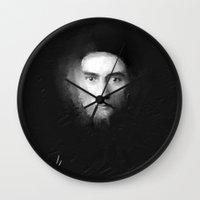 kafka Wall Clocks featuring Franz Kafka by Zmudartist