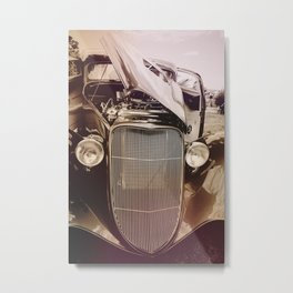 Classic Car with Side Open Hood Metal Print