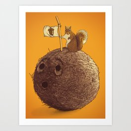 Conquering the biggest nut Art Print