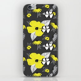Yellow and Black Drawn Flowers on Gray iPhone Skin