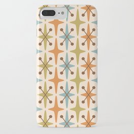 Mid Century Modern Abstract Star Pattern 441 Orange Brown Blue Olive Green iPhone Case