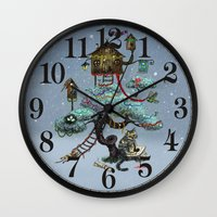 christmas tree Wall Clocks featuring Christmas Tree by Anna Shell