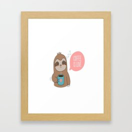 Coffee Love Sloth Framed Art Print