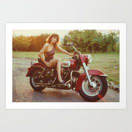 Motorcycle and Pinup Art Print
