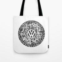 volkswagen Tote Bags featuring Volkswagen Steampunk Mechanical Doodle by Squidoodle
