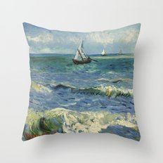 The Sea at Les Saintes-Maries-de-la-Mer by Vincent van Gogh Throw Pillow