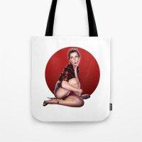 calendar Tote Bags featuring CALENDAR GIRL by Kiko Alcazar