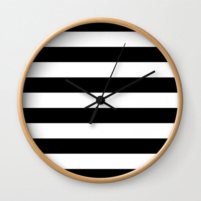 Stripe Black & White Horizontal Wall Clock