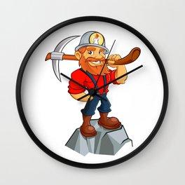 Prospector cartoon,miner funny Wall Clock