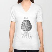 brain V-neck T-shirts featuring Brain by T-SIR | Oscar Postigo