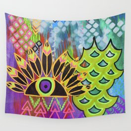 Feathered Eye Original Artwork by Rachael Rice Wall Tapestry
