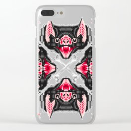 Vampire Bat Face Geometric Pattern Clear iPhone Case