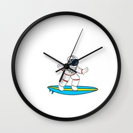 Are You A Fan Of Astronomy? An Astronaut Dreamer? Here's An Antronaut T-shirt Surfing on Space Wave Wall Clock