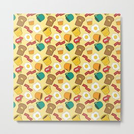 Doodle breakfast: toasts, jam, juice, coffee, bacon, eggs on a yellow background Metal Print