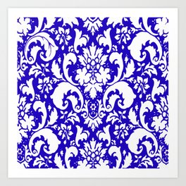 Paisley Damask Blue and White Art Print