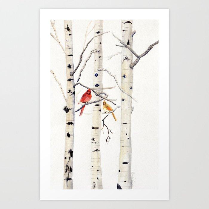 Birch Trees and Cardinal Kunstdrucke