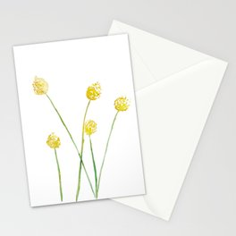 Yellow Billy Button Flowers Stationery Cards