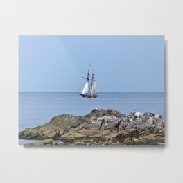 Tall ship Sailing by the point Metal Print