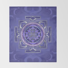 Sri Yantra  / Sri Chakra Purple and Silver Throw Blanket