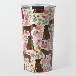 Labrador Retriever florals chocolate lab cute pet gifts must have labrador florals Travel Mug