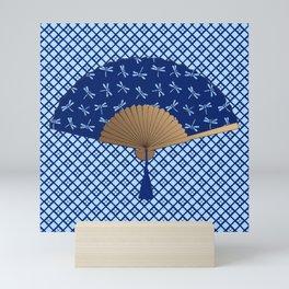 Japanese Fan, Dragonfly Pattern, Cobalt Blue Mini Art Print