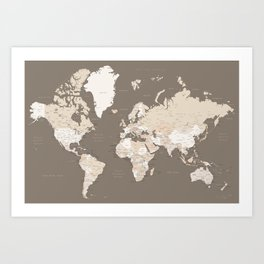 "World map with cities ""Earth tones"" - SIZES LARGE & XL ONLY Art Print"