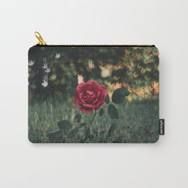 Single Red Rose In A Grassy Field With Bokeh Maple Leaves In The Background Carry-All Pouch