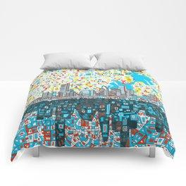 houston city skyline Comforters