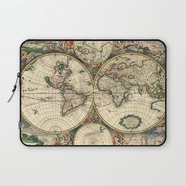 Old map of world (both hemispheres) Laptop Sleeve