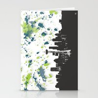 seahawks Stationery Cards featuring Seahawks Seattle Skyline by Blythe Green