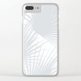 Pale Grey Tropical Leaves Clear iPhone Case