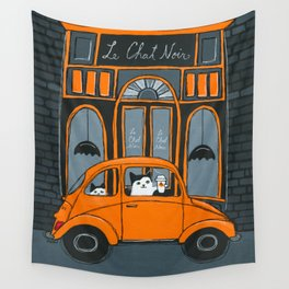 Le Chat Noir Cafe Wall Tapestry