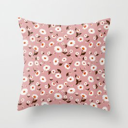 Daisies Pattern - Terracotta Throw Pillow