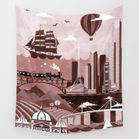 melbourne Wall Tapestries featuring Melbourne Travel Poster Illustration by ClaireIllustrations