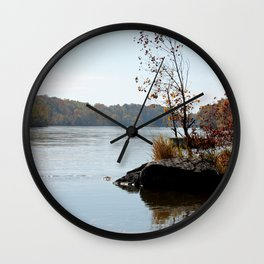 Fall on the River Bank Wall Clock