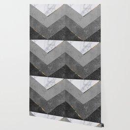 Marble Gray Copper Black Gold Chevron Wallpaper