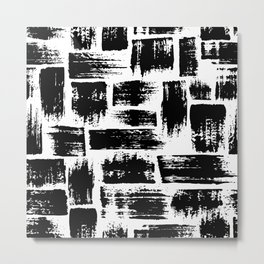 Black brush stripes plaid Metal Print