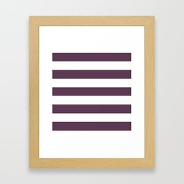 Dark byzantium - solid color - white stripes pattern Framed Art Print