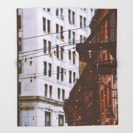 New York City Buildings and Lights (Color) Throw Blanket