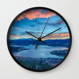 Lakeside Sunset // Mile High Rocky Mountain Orange and Blue Sky Wall Clock